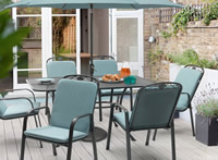 Kettler Siena 6 Seat Set with Aqua Cushions